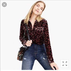 J Crew classic fit shirt drapey velvet leopard